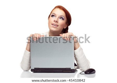 Portrait of happy mature business woman with a laptop. - stock photo