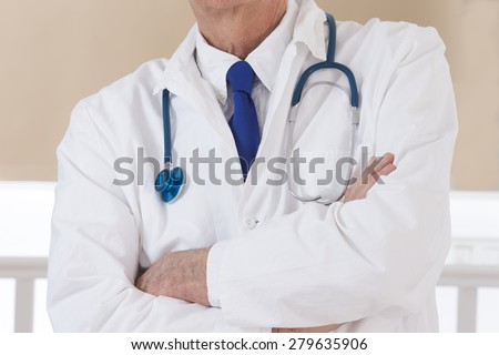 Portrait Of Happy Mature Male Doctor - stock photo