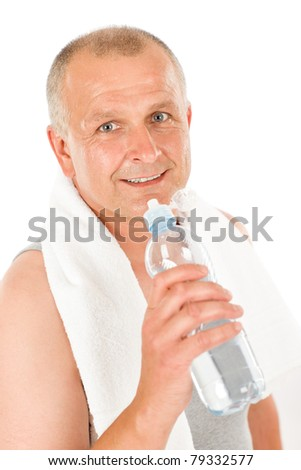 Portrait of happy mature man fitness workout drink water - stock photo