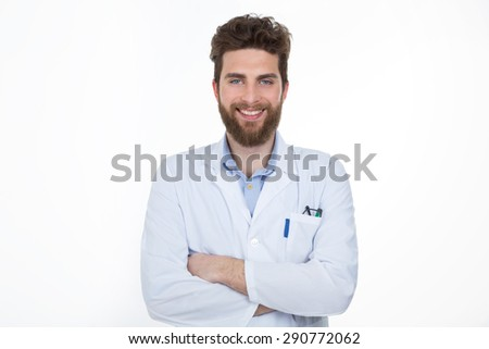portrait of happy medical doctor standing against white background - stock photo