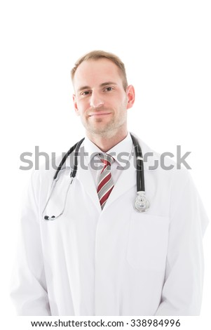 Portrait of happy mid adult male doctor standing against white background