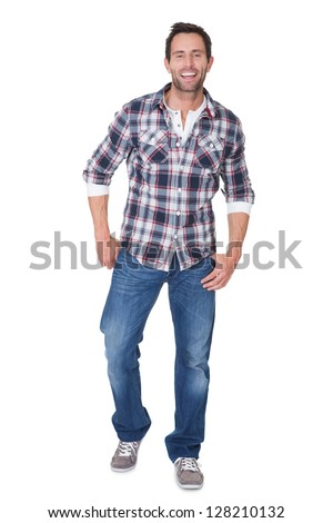 Portrait of happy middle age man. Isolated on white - stock photo