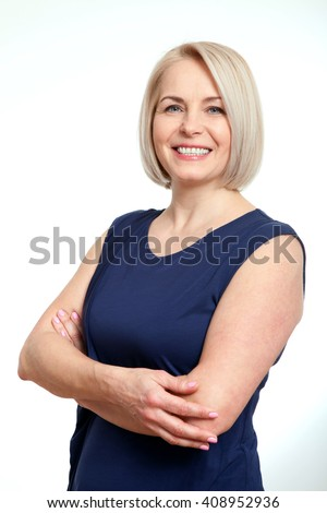 Portrait of happy middle-aged woman over white background