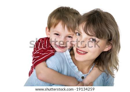 Portrait of happy mother with son - stock photo