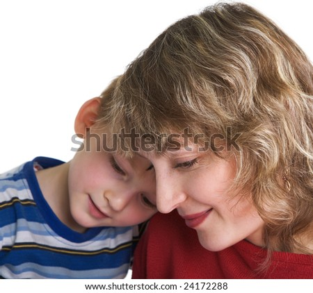Portrait of happy mother with son