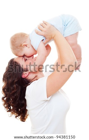 portrait of happy mother with son over white background