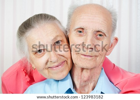 portrait of happy old couple. concept is always together - stock photo