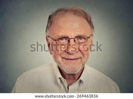 Portrait of happy Old Man with glasses  - stock photo