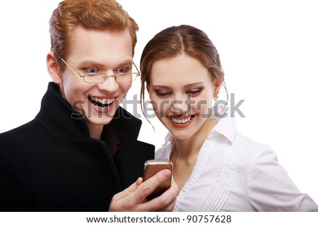 portrait of happy red-haired couple with cellphone on white - stock photo