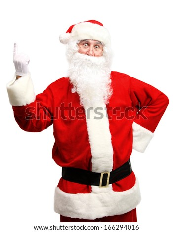 Portrait of happy Santa Claus have an idea isolated on white background. Idea gesture. Pointing up with fingertip  - stock photo