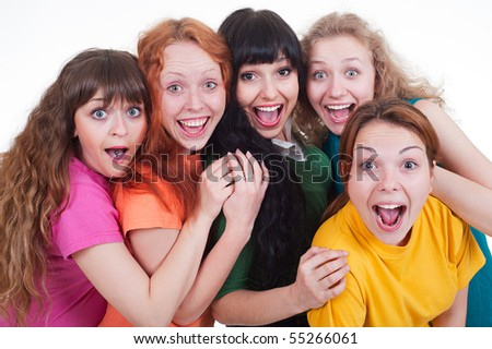 portrait of happy screaming girls over white background