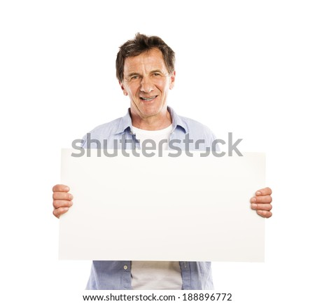 Portrait of happy senior man with blank advertising board or copy space, isolated on white - stock photo