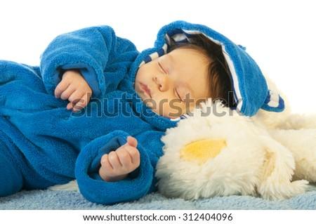 Portrait of happy sleeping little kid - stock photo