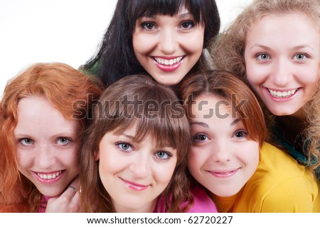 portrait of happy smiley girls over white background - stock photo