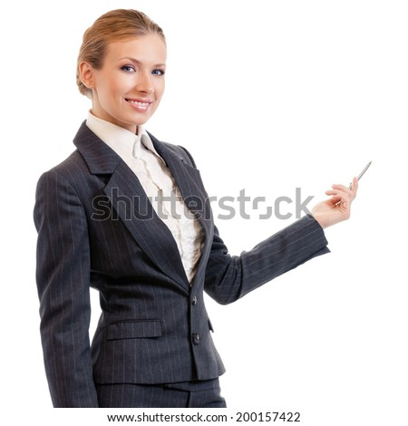 Portrait of happy smiling beautiful young cheerful business woman showing something, isolated on white background - stock photo