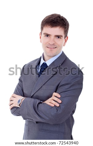 Portrait of happy smiling business man, isolated on white - stock photo