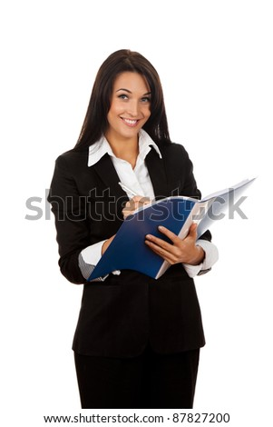 Portrait of happy smiling business woman with blue folder, isolated on white background