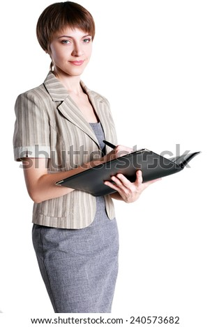 Portrait of happy smiling business woman with folder, isolated on white background  - stock photo