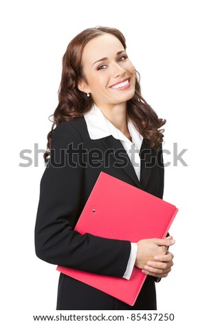 Portrait of happy smiling business woman with red folder, isolated on white background