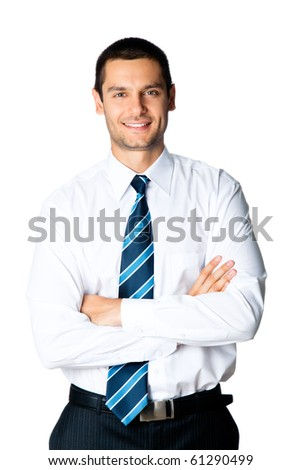 Portrait of happy smiling businessman, isolated on white - stock photo