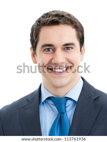 Portrait of happy smiling businessman, isolated over white background
