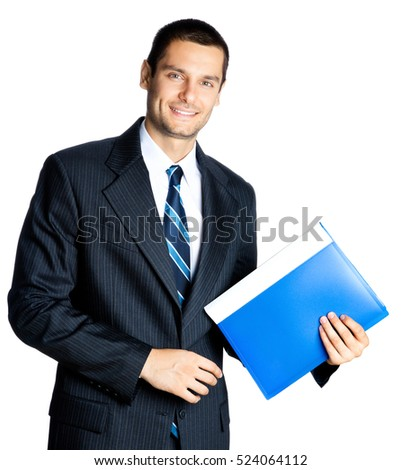 Portrait of happy smiling businessman with blue folder, isolated against white background. Success in business, job and education concept studio shot.