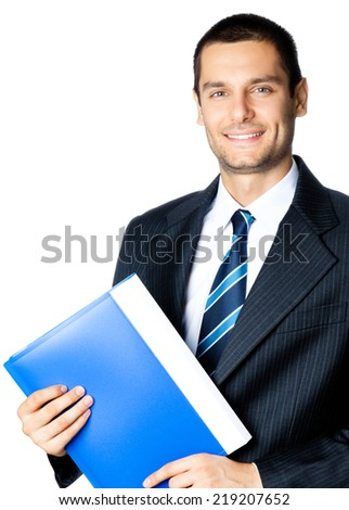 Portrait of happy smiling businessman with blue folder, isolated over white background - stock photo