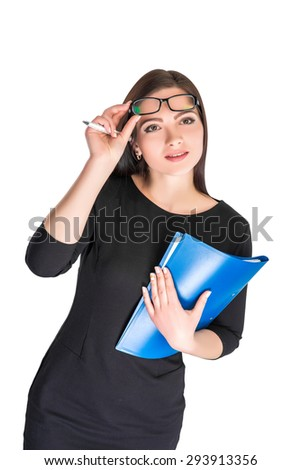Portrait of happy smiling businesswoman in glasses with blue folder isolated on white background   - stock photo