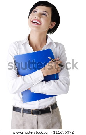 Portrait of happy smiling businesswoman with notepad or organizer, isolated on white background - stock photo