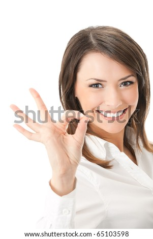Portrait of happy smiling businesswoman with okay gesture, isolated on white background - stock photo
