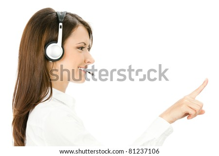 Portrait of happy smiling cheerful customer support phone operator in headset pointing at something, isolated on white background - stock photo
