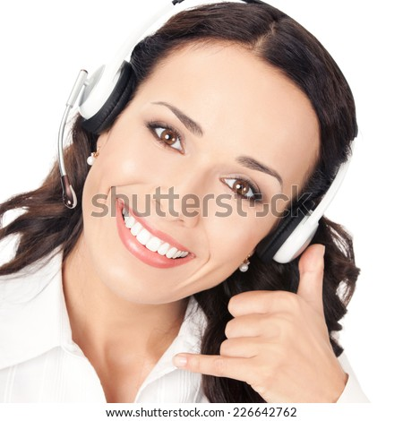Portrait of happy smiling cheerful customer support phone operator in headset with call me gesture, isolated on white background - stock photo