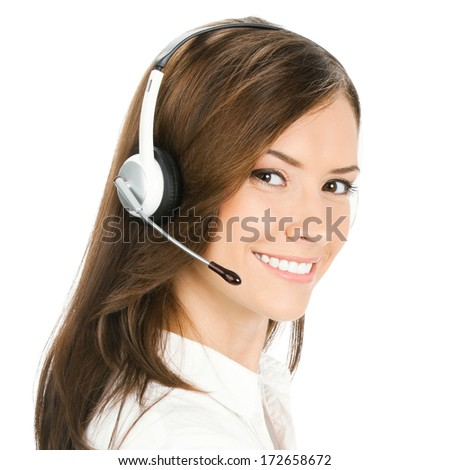 Portrait of happy smiling cheerful customer support phone operator, isolated on white background - stock photo