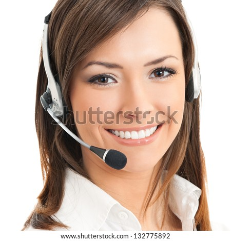 Portrait of happy smiling cheerful support phone operator in headset, isolated on white background - stock photo
