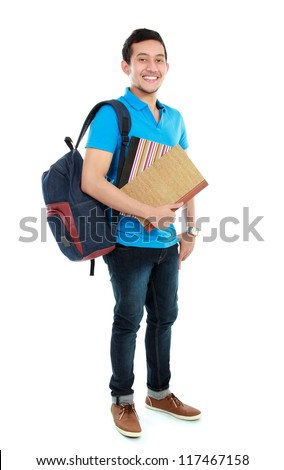 portrait of Happy smiling college student with book and bag isolated on white background