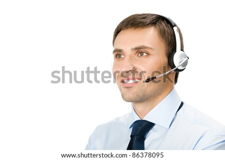 Portrait of happy smiling customer support phone operator in headset, isolated over white background
