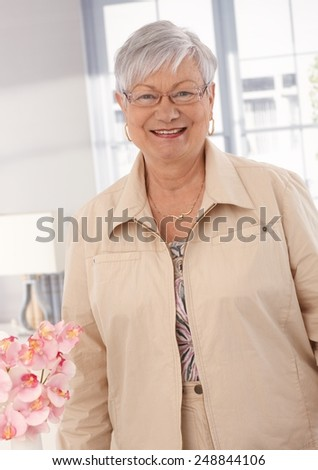Portrait of happy smiling elderly lady, looking at camera. - stock photo