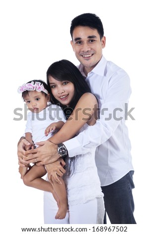 Portrait of happy smiling family isolated on white background