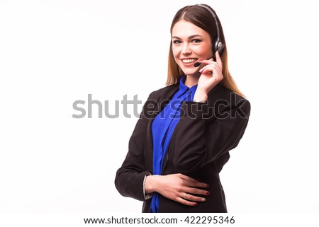 Portrait of happy smiling female customer support phone operator on white background. - stock photo