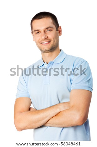 Portrait of happy smiling man, isolated on white - stock photo