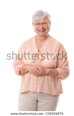Portrait of happy smiling mature woman over white background. - stock photo