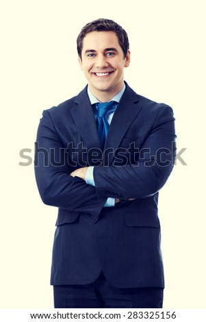 Portrait of happy smiling senior businessman in crossed arms pose - stock photo