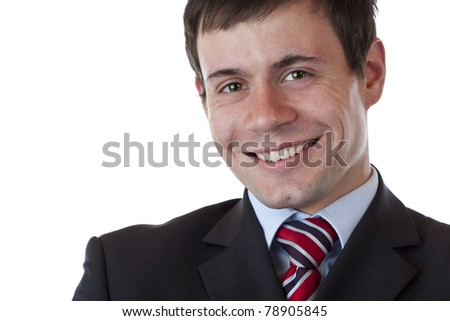 Portrait of happy smiling successful,young and dynamic manager. Isolated on white background. - stock photo
