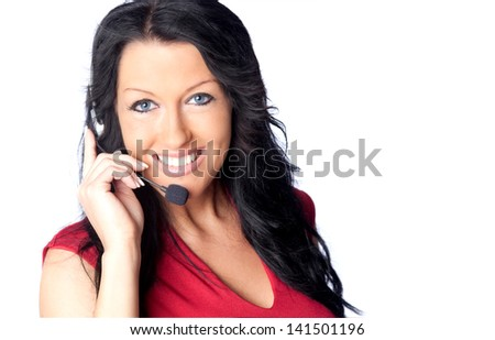 Portrait of happy smiling support phone operator - stock photo