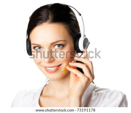 Portrait of happy smiling support phone operator in headset, isolated on white background - stock photo
