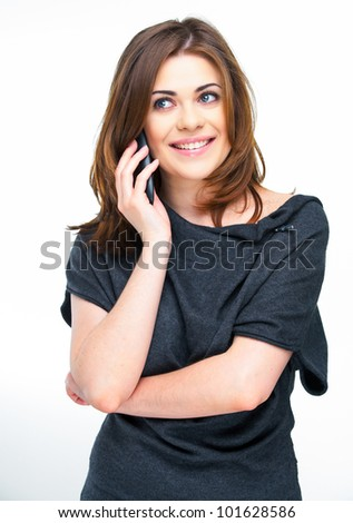 Portrait of happy smiling woman dressed in a gray blouse, Isolated on white background use phone. - stock photo