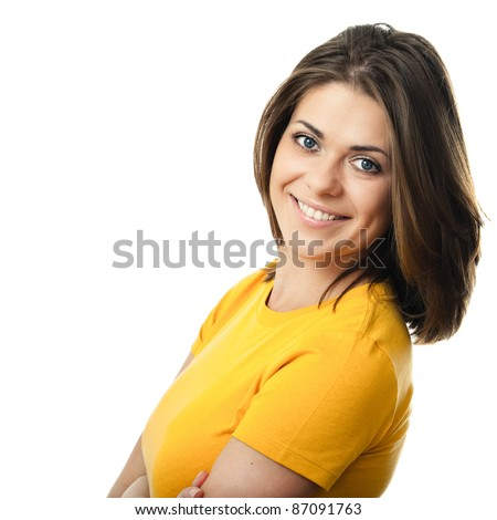 Portrait of happy smiling woman dressed in a yellow blouse, Isolated on white background - stock photo