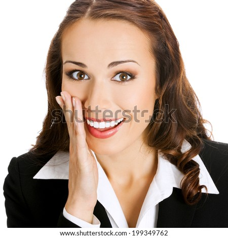 Portrait of happy smiling young business woman covering with hand her mouth, isolated on white background - stock photo