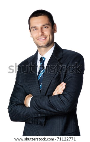 Portrait of happy smiling young businessman, isolated on white background - stock photo