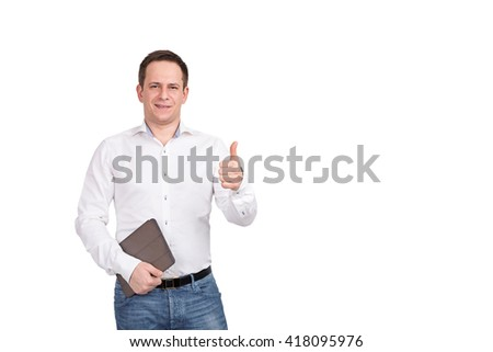 Portrait of happy smiling young businessman with brown folder, shows thumb up sign on white background. - stock photo